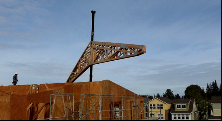 Roof truss hoisted